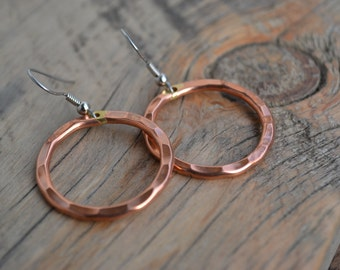 Small Copper Hoop Earrings, Hammered Circle Design