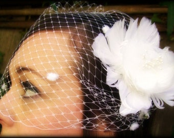 Bridal white birdcage veil bandeau with chenille dots 9 inch retro