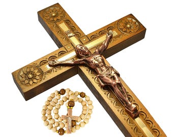 Handmade Wall Cross Carved Wooden Cross Wall Crucifix Catholic Cross Wooden Crucifix Orthodox Christian Cross Religious Catholic Art Gifts