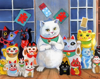 Chats porte-bonheur Maneki-Neko bonne chance! Kawaii amis Art Print 8.5x11