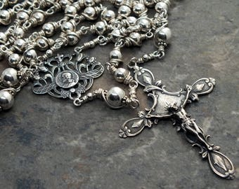 Sterling Silver Rosary, Heirloom Rosary, 5 Decade Rosary, Catholic Rosary, All Metal Rosary