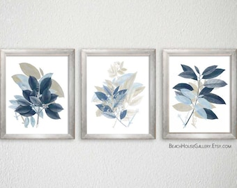 Taupe and Blue Wall Decor, Botanical Print Set, Wild Flowers, Floral Botanical, Taupe Blue Living Room Art, Nature Home Decor, Farmhouse Art