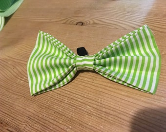 Lime Green and White Stripe Dog Bow Tie