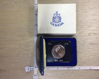 1973 Canada Dollar Prince Edward Island 1873-1973 Coin Money In Original Case Used