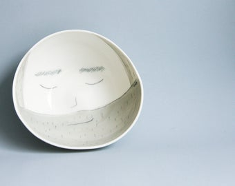 Cheerful Ceramic Bowl, white porcelain bowls and plates, porcelain tableware set, fathers day gift, gift for granddad, face bowl, funny bowl