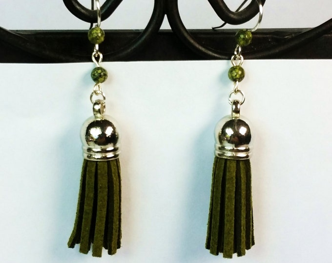 Boho Olive Green Suede Tassel Earrings with Serpentine Accents on Sterling Silver Ear Wire