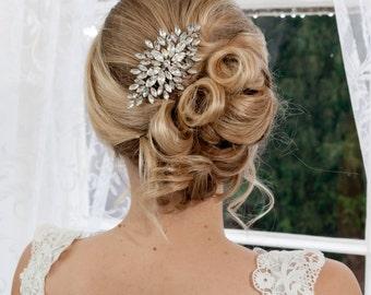 Diamante navette medium bridal comb