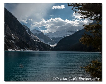 Lake Louise Photo, Wall Art Lake Theme Print, Canadian Landscape Photography, Rocky Mountains, Blue Lodge Bathroom Picture, Wife Photo Gift