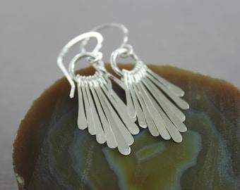 Sterling silver hammered fringe bars dangle earrings, stick earrings, cascade earrings, sterling silver earrings, trendy earrings - ER135