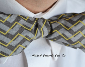 Charcoal Chevron Bow Tie, Freestyle  Bow Tie, Self-Tie Bow Tie, Mens Grey Bow Tie, Mens Gray Bow Tie, Grey Chevron Tie, gifts for dad