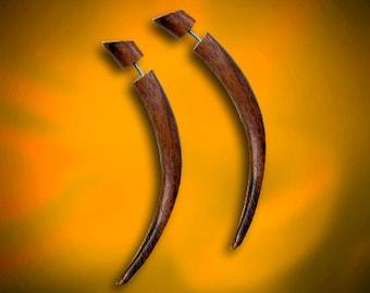 Fake Gauges, Tribal Earrings - Medium Wooden Talons, Fake Plugs, Split Expanders, Organic, Cheaters, Eco Friendly, Handmade - W20