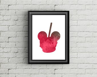 Mickey Toffee Apple - Disney Inspired Silhouette - DIGITAL PRINT DOWNLOAD