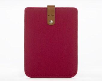 Kindle Cover - Kindle Sleeve - Kindle Paperwhite Case - Felt and Leather Case - Amazon Kindle Case - Kindle Reader Case - Red Kindle Sleeve
