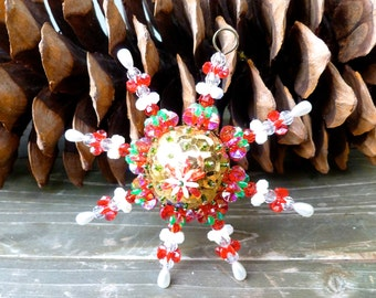 Handmade Beaded Ornament, Vintage Christmas , Snow Flake Design,  Red and Gold Christmas Tree Decoration