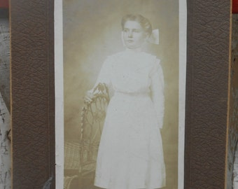 Antique Photo of Young Woman Victorian Girl Black White Vintage Photography