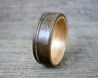 Guitar String Ring, Wood Inlay Ring, Walnut and Fireland Cherry Wood Ring, Bentwood Ring, Wood Wedding Ring, Wood Engagement Ring,