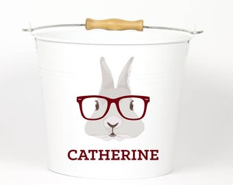 Personalized Hipster Bunny Name Easter Pail - Easter Basket Easter Bucket Easter Tin for Girls and Boys