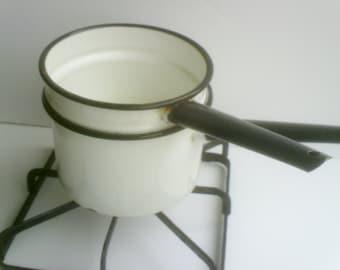 Vintage Enamelware Black Rimmed Double Boiler / Enamelware Pot Black Handled/ Metal Cookware