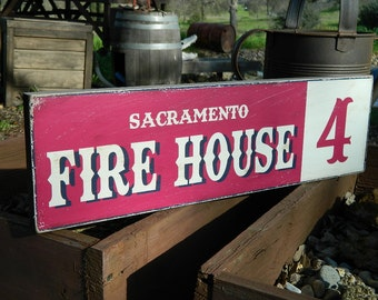 """Distressed Primitive Country Wood Sign - Your Name Fire House 5.5"""" x 19"""""""