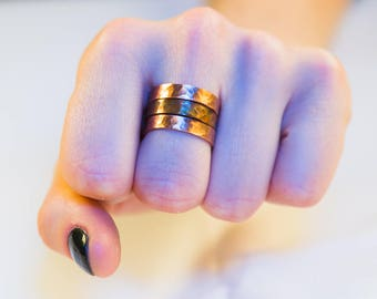 Ring set of three Handmade Copper Ring, Heat Treated