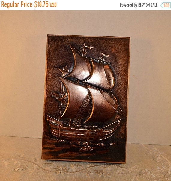 Delayed Shipping Nautical Metal Box Vintage Copper Look Embossed Ship Relief Nautical Motif Sailing Ship Etched Metal Trinket Hinged Box