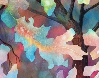 Falling Leaves Watercolor, Autumn Leaves Painting, Oak Tree 30 x 22