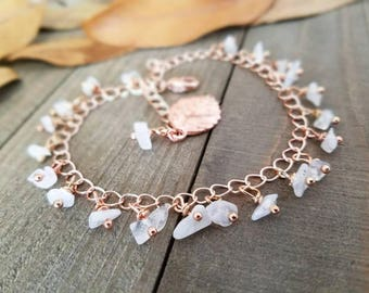 Boho anklet - Rose gold anklet - moonstone anklet - rainbow moonstone - rose gold jewelry - rose gold ankle bracelet - rose gold moonstone
