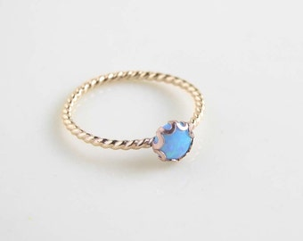 14K Gold Filled Small Blue Opal Ring. October Birthday. Gift for Her. Bridesmaid Gift. Simple Modern Jewelry by PetitBlue