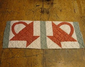 Antique Flower Basket Quilt Piece | Old Quilt Piece | Vintage Quilt Piece | Cutter Quilt Piece | Primitve Quilt Piece | 8.5 x 22
