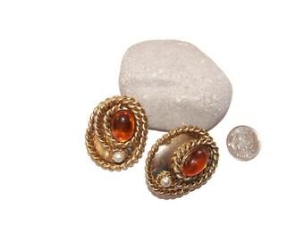 Vintage Large oval rope clip earrings, runway earrings, Bold jewelry, Statement earrings, Model jewelry