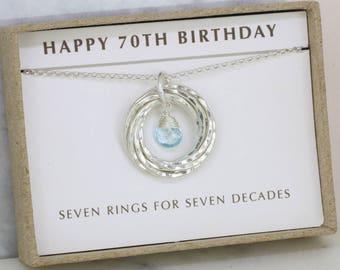 70th birthday gift, December birthstone necklace 70th, blue topaz necklace for 70th birthday, gift for mom, grandma - Lilia