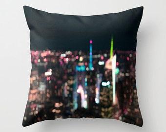 Throw Pillow, New York, Manhattan, Time Square, Photo pillow, Decorative Throw Pillow, Dorm, Bokeh, Night Sky, Lights, city, urban, office