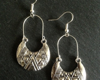 Boho Earrings,  Ethnic earrings, Bohemian earrings, Tribal earrings, Aztec earrings, Silver dangle earrings, Gypsy earrings
