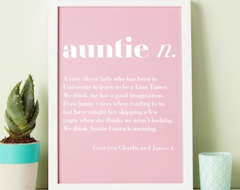 Auntie print - Aunty print - best auntie - aunt gift - custom print - personalised gift - auntie gift - love auntie gift - gift for her