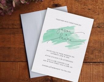 Wedding Invitation, Watercolor Wedding Invitation Set, Printable Wedding Invitation