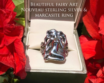 Art Nouveau fairy/ goddess sterling silver & marcasite ring!
