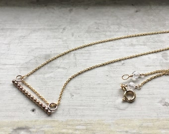 Gold Fill beaded bar necklace