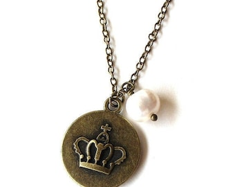 Clearance sale Royal crown charm antique bronze necklace with white pearl