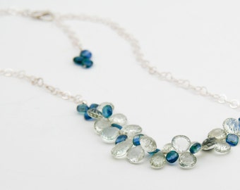 Green and Blue Necklace Gemstone Necklace blue jewelry green jewelry