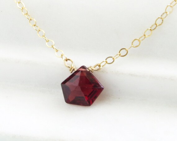 Faceted Garnet Necklace • January Birthday Gift • Garnet Necklace • Garnet Birthstone • Red Gemstone • Garnet Drop • January Birthstone by Etsy