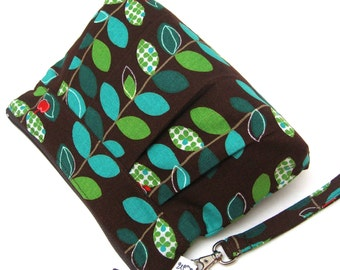 Zippered Wristlet Clutch Purse Little Red Apple Green Blue Vine Leaves on Brown