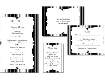 Black and White Vintage Wedding Invitation Downloadable