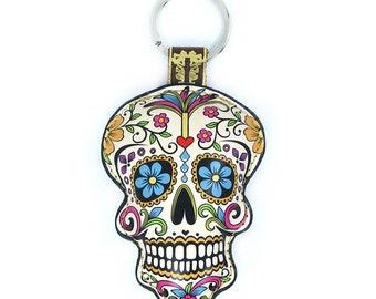 Leather  Sugar Skull, Day of the Dead, Dia de Muertos Keychain, Keyring, Bag Charm, Mexican Skull