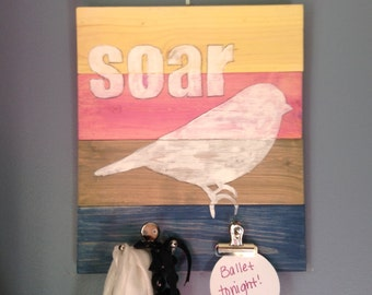 Hook Hand Painted Wall Art,soar, Clip, clipboard, sign, functional, Bird, custom, Personalize, mail, Artwork