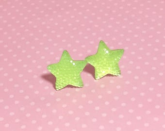 Big Sparkling Bright Neon Yellow Faux Druzy Star Stud Earrings with Surgical Steel Posts (SE15)