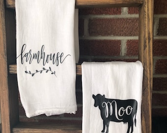 Moo Cow Farmhouse Kitchen Home Hand Towel Housewarming Moving Gift Set of 2