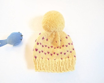 Baby Hat/3-6 Mo. Old Infant Hat/Hand Knit Baby Hat/Baby Shower Gift/Yellow Baby Hat/ Knit Hat/Pom Pom Hat/Baby Beanie/Hand Knitted Baby Hat