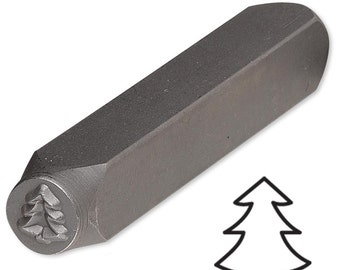 Christmas Pine Tree Steel Design Stamp Punch Tool to Embellish Metal, Plastic, Jewelry Blanks, Clay+ ET14