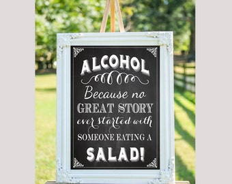 Wedding bar SIGN Drink BAR Sign alcohol sign fun party drinks sign -Chalkboard-rustic sign Reception-Digital Print-DIY Printable File, jpg