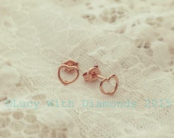 9ct Rose Gold Stud Earrings open heart studs valentines